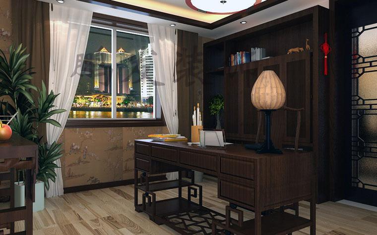 首创溪堤郡-一居室-198㎡-书房装修效果图; 鹤湖浪小区-一居室-198㎡