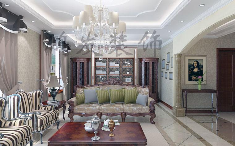 客厅的地面600*600黄色仿古砖斜铺,用拨打线圈边,非常气派;客厅垭口